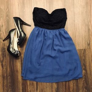 Black & Blue Strapless Fit and Flare Dress 👗